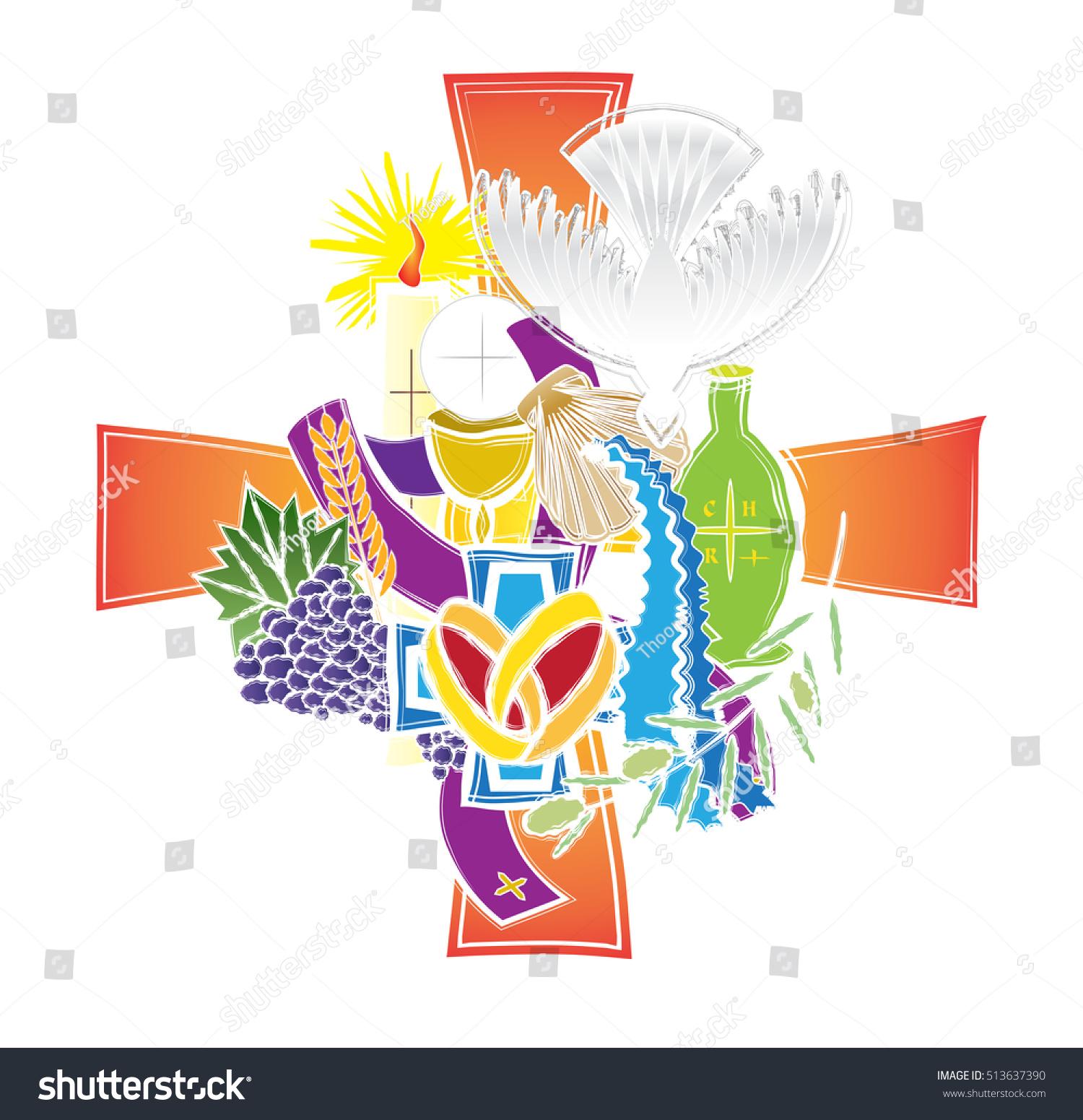 Symbols Seven Sacraments Catholic Church Abstract Stock