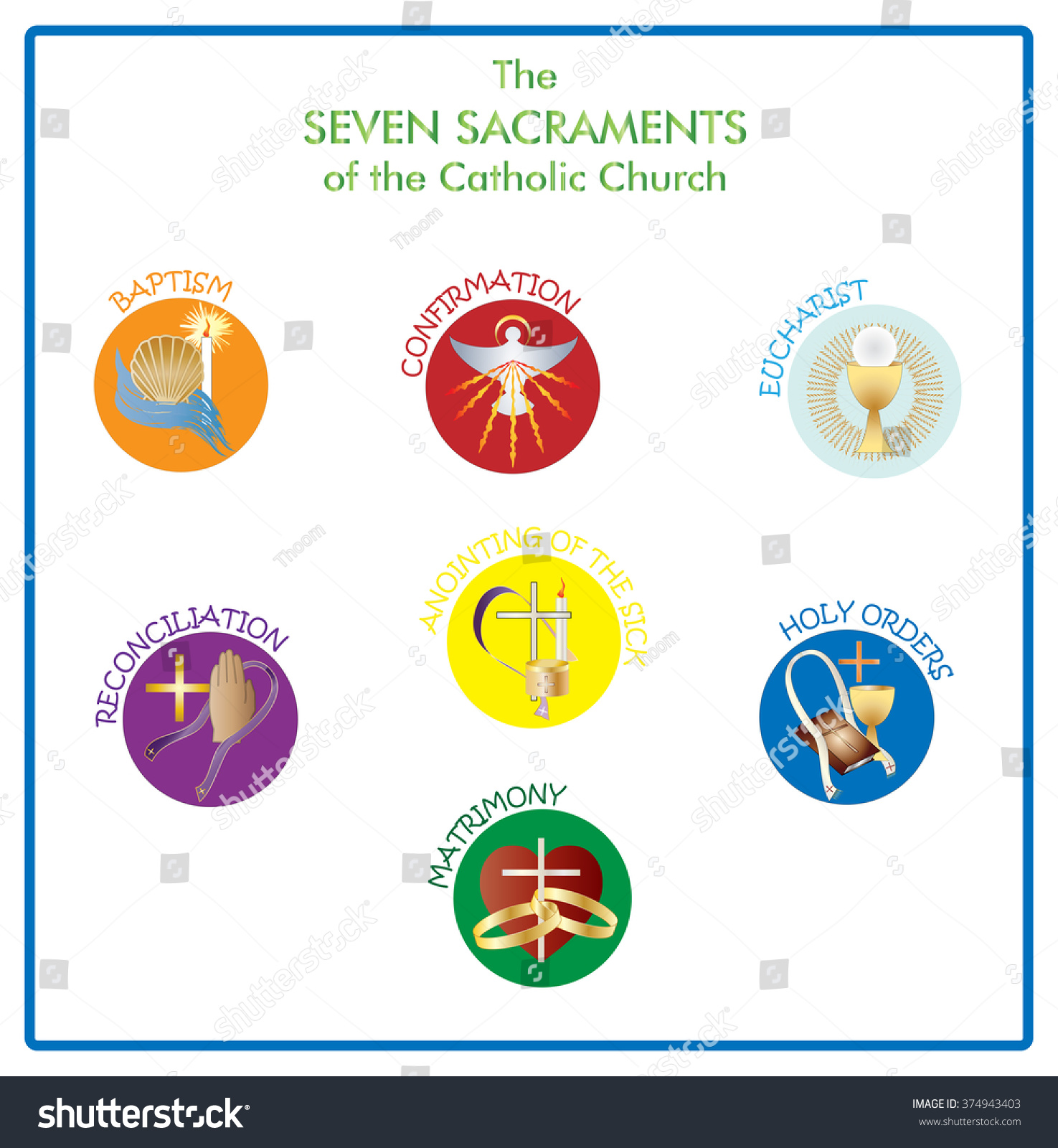Symbols Seven Sacraments Catholic Church Color Stock
