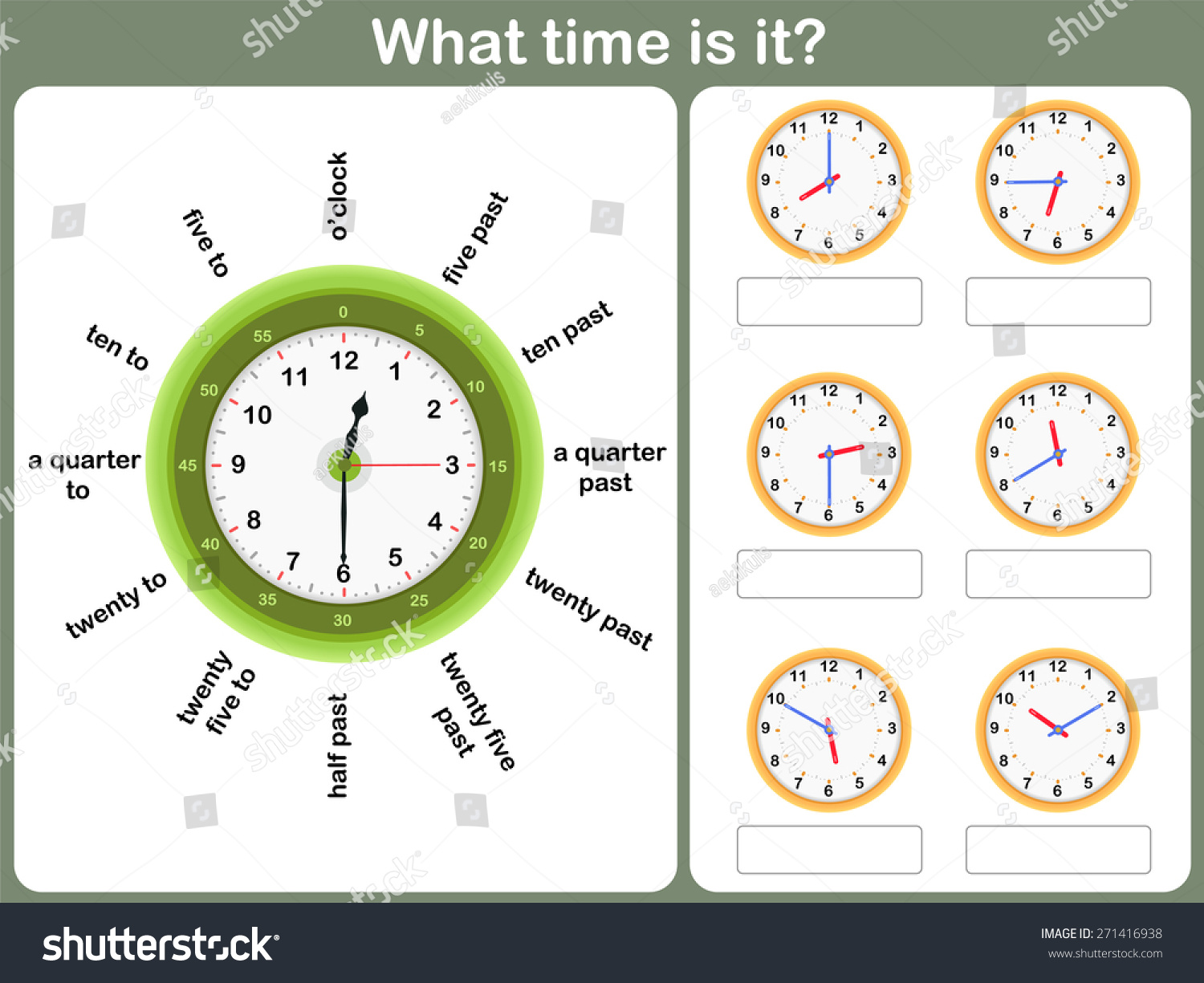 Telling Time Worksheet Write Time Shown Stock Vector