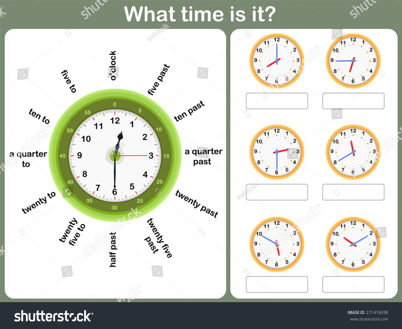 Telling Time Worksheet Write Time Shown Stock Vector