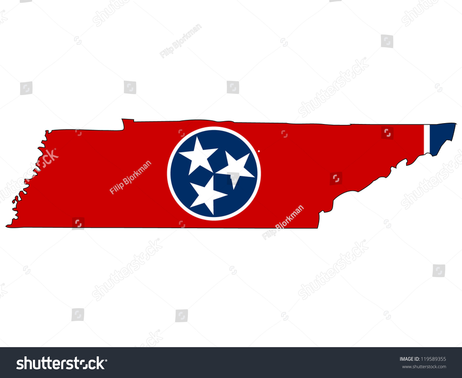Tennessee Vector Map Flag Inside Stock Vector