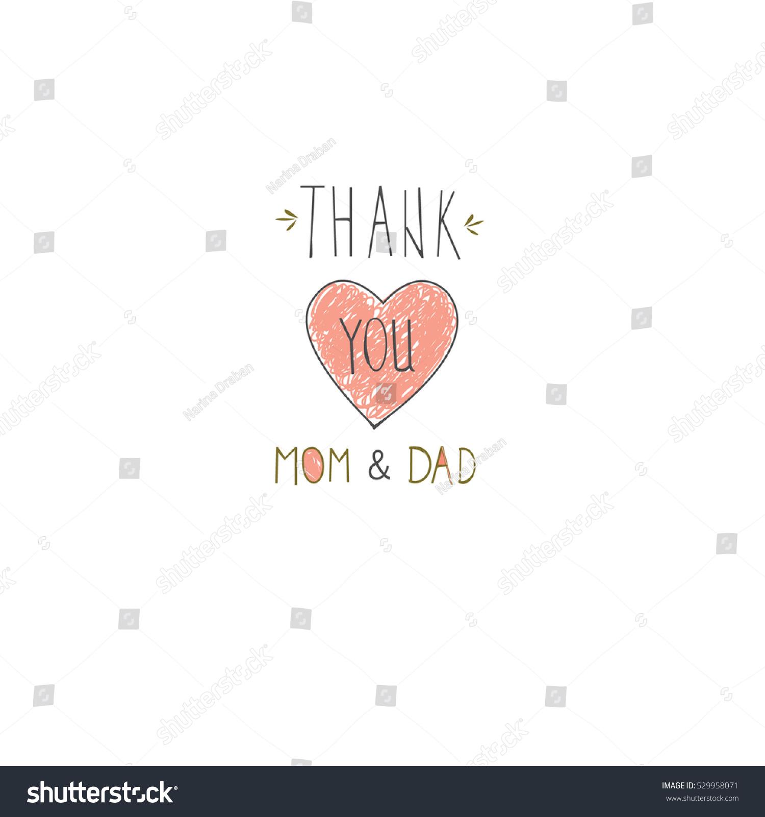 Thank You Mom Dad Design Congratulate Stock Vector