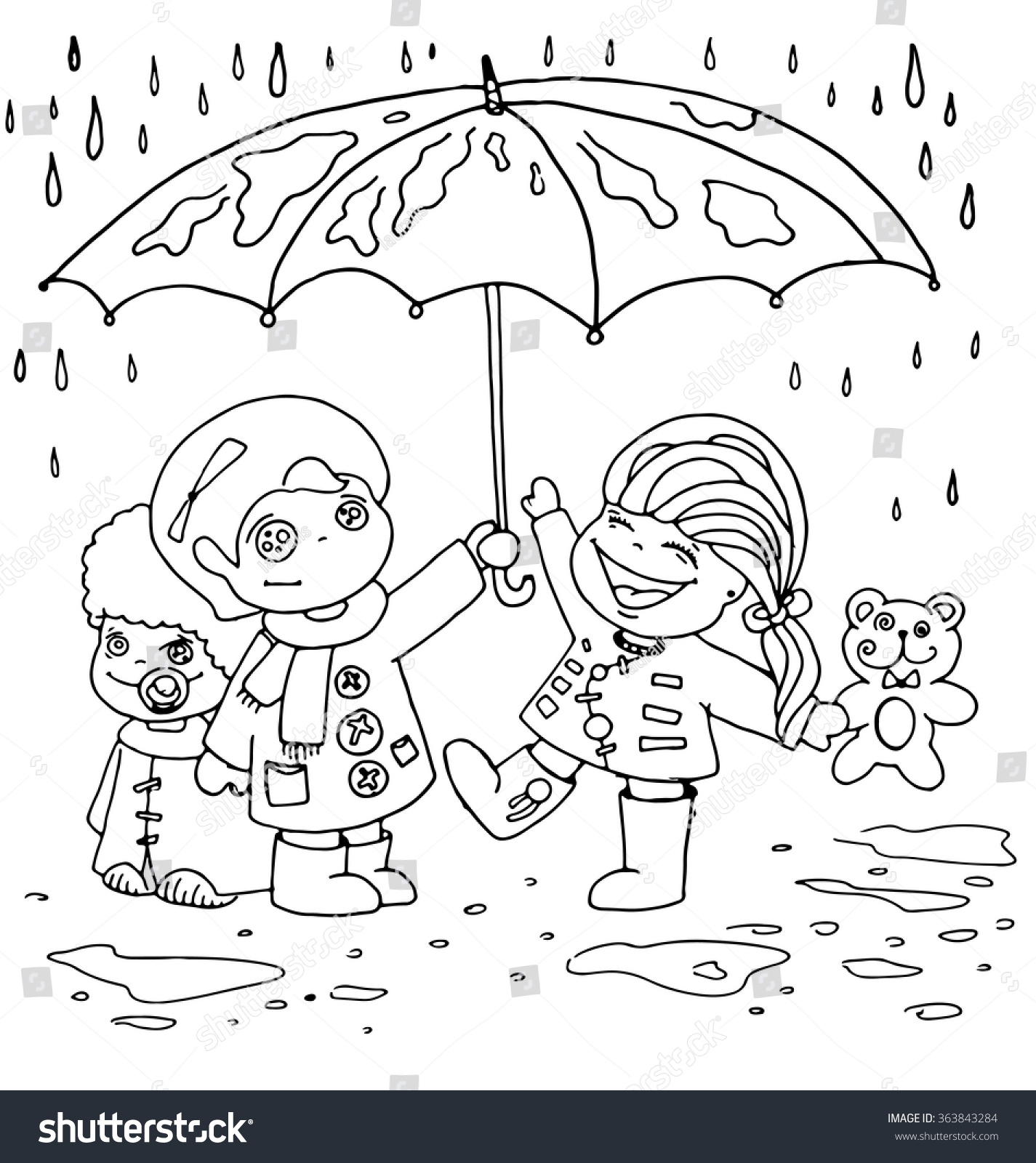 Children Hid Under Umbrella Rain Outline Stock Vector