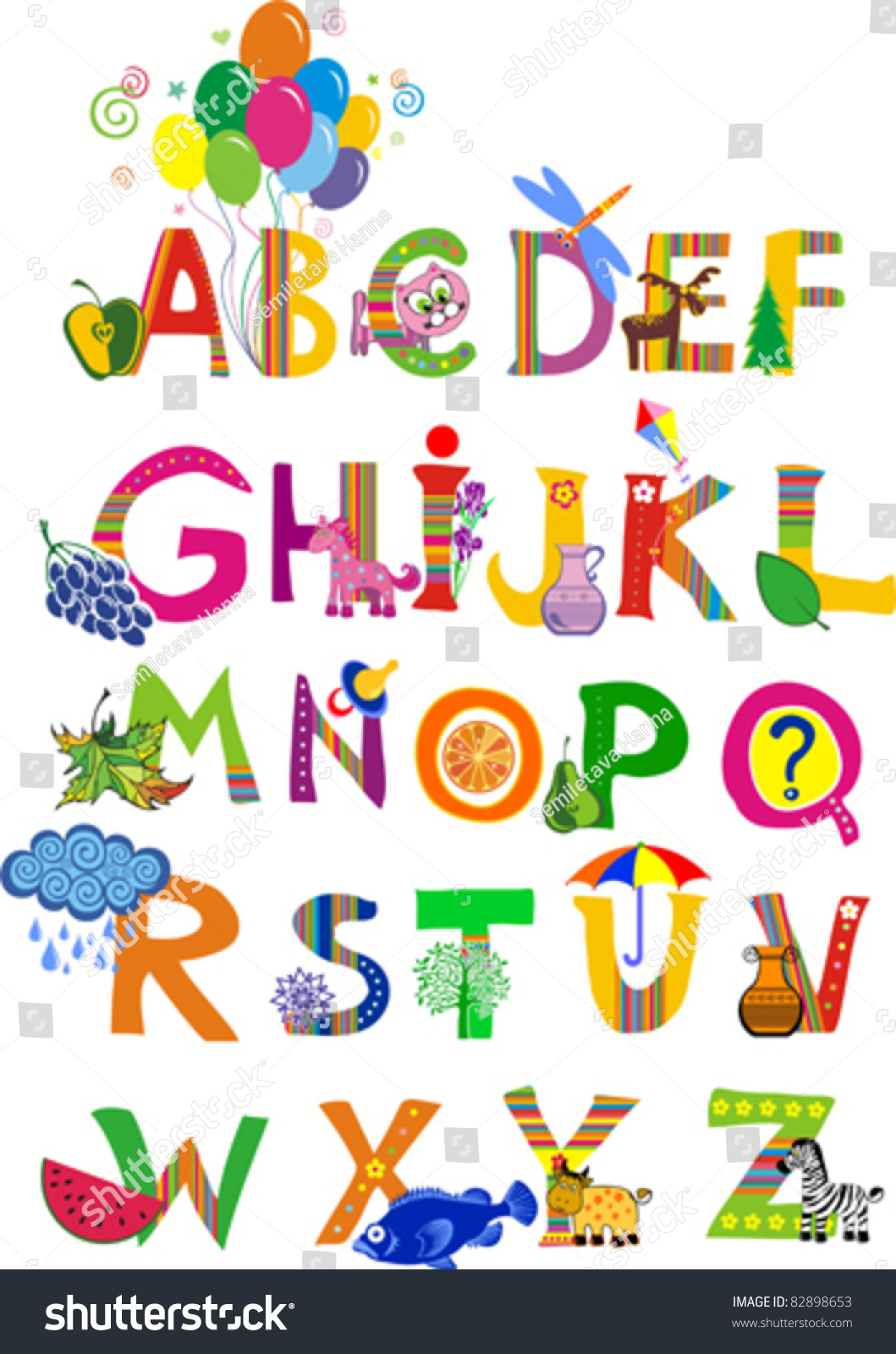 Complete Childrens English Alphabet Spelt Out Stock Vector