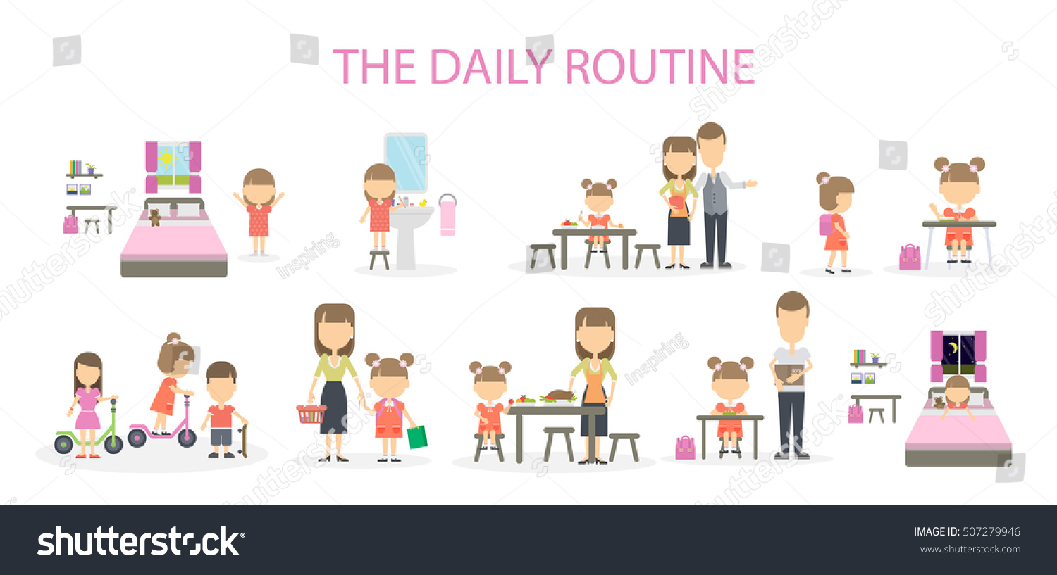 Daily Routine Girl Set Domestic Chores Stock Vector