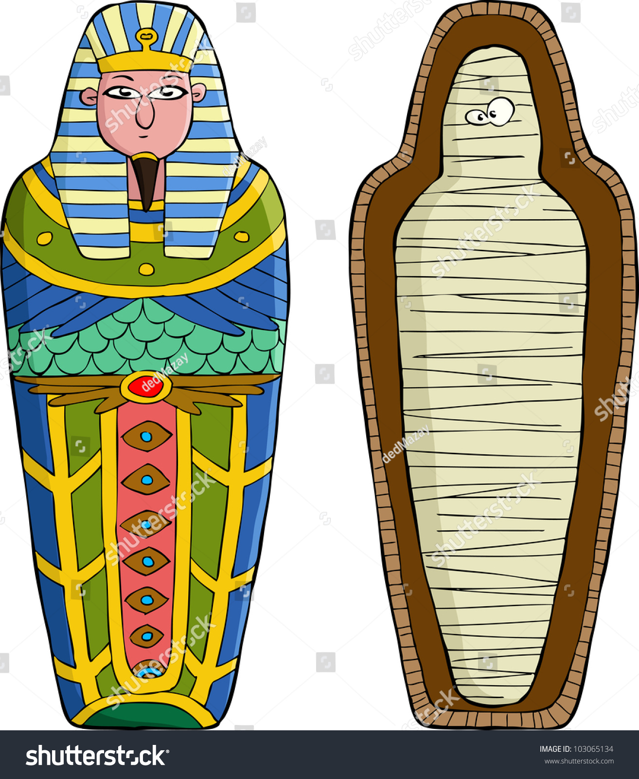 Sarcophagus On White Background Vector Illustration Stock Vector