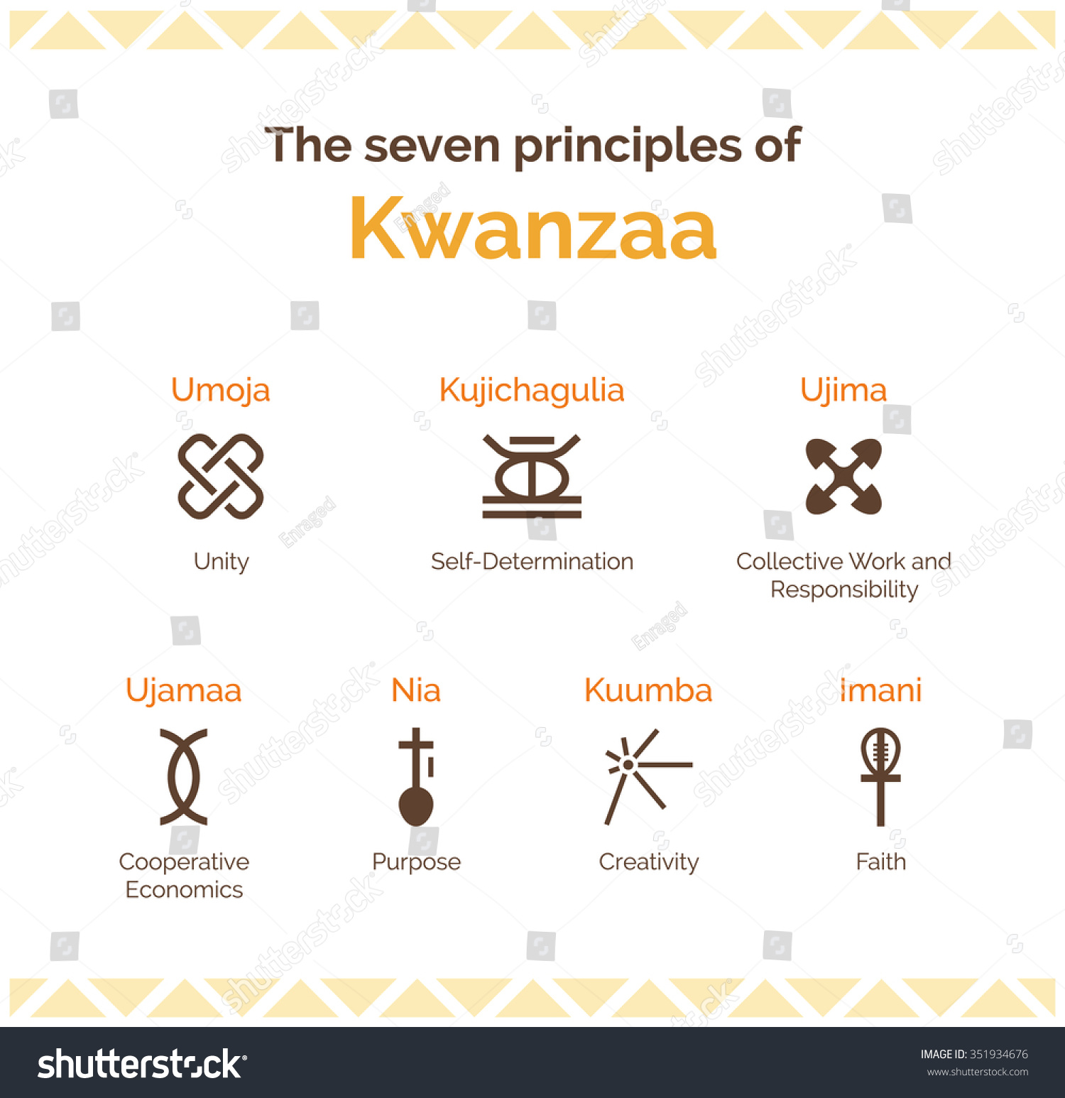The Seven Principles Of Kwanzaa Stock Vector Illustration