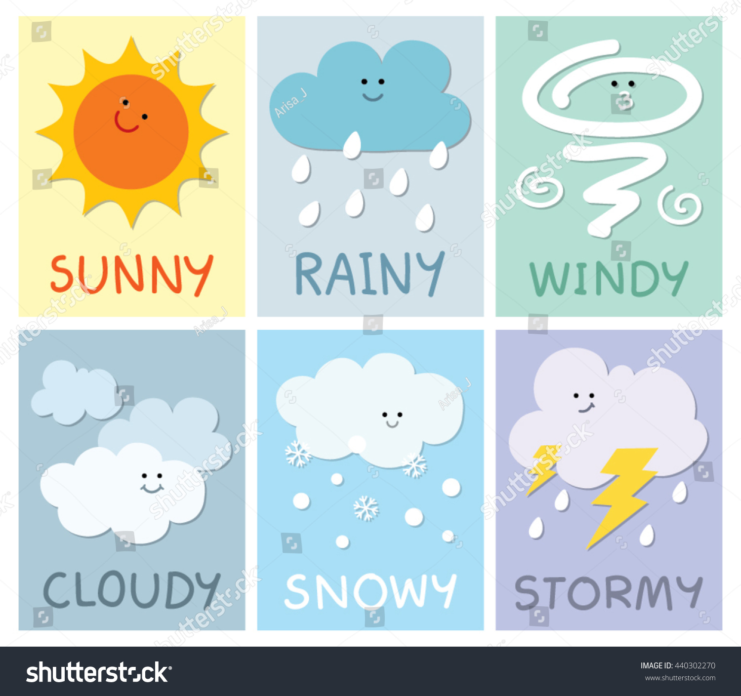 Weather Card Children Stock Vector