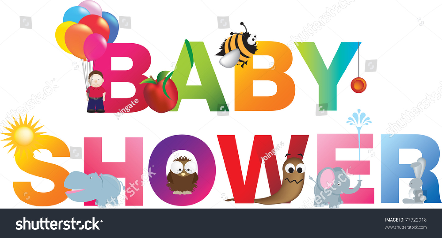 The Words Baby Shower Made Up From Alphabet Cartoon