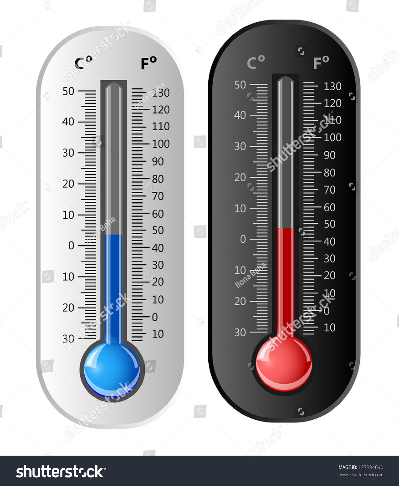 Thermometer White Black Vector Celsius Fahrenheit Stock
