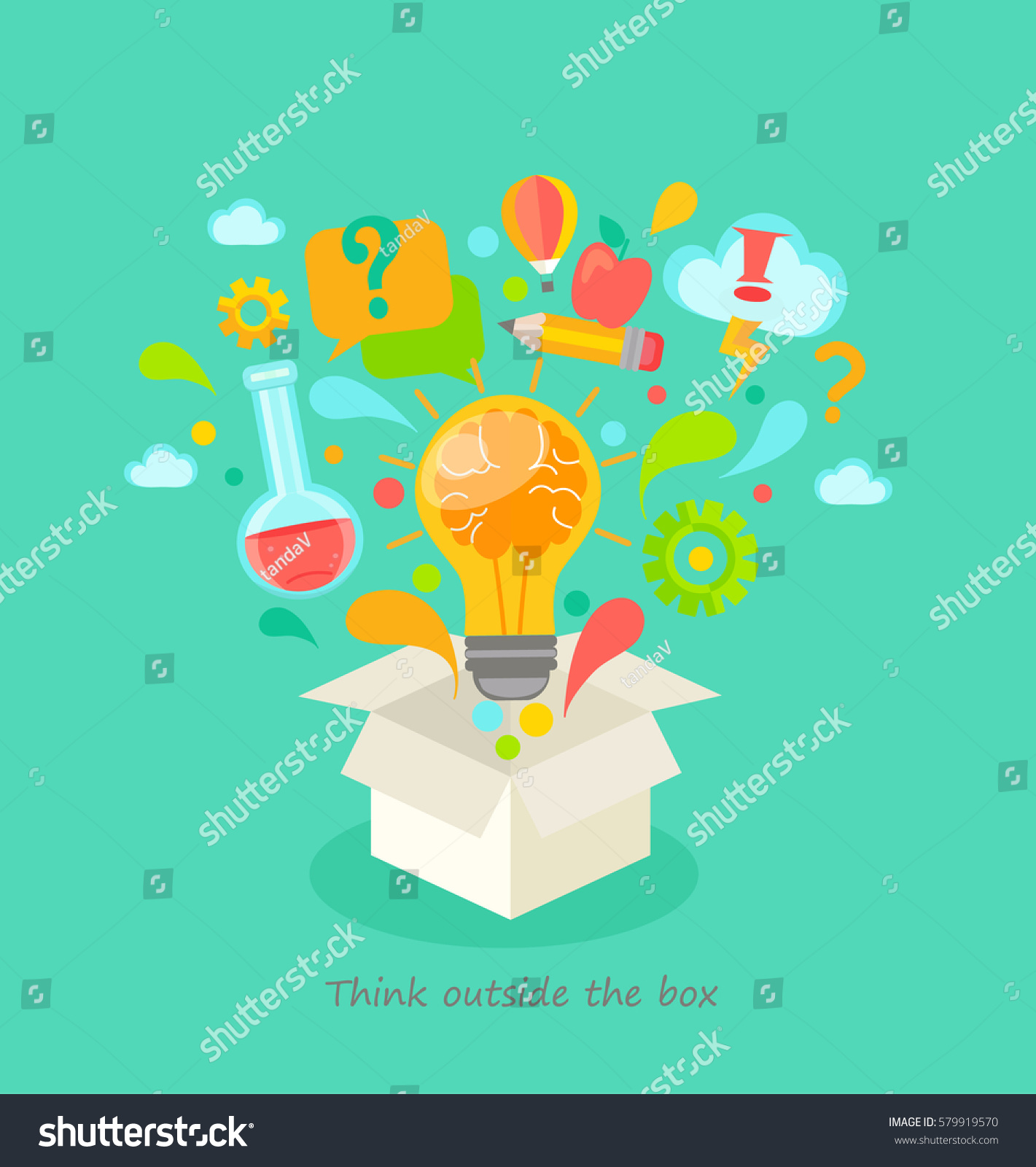 Think Outside Box Vector Illustration Stock Vector