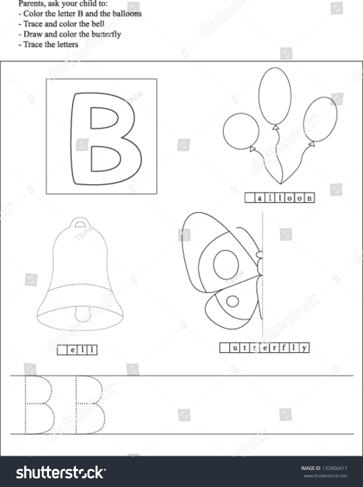 Trace Color Letter B Worksheet Preschoolers Stock Vector
