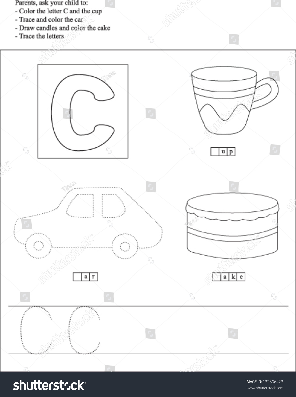 Trace Color Letter C Worksheet Preschoolers Stock Vector