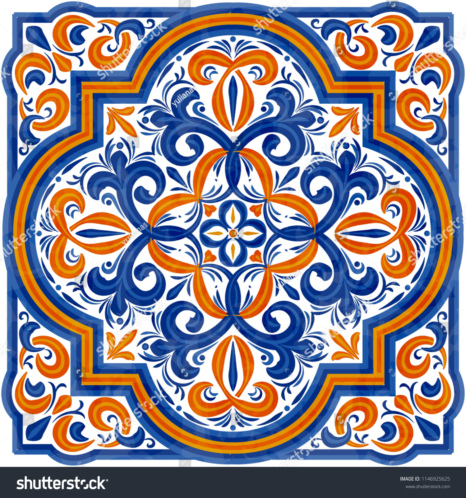 https www shutterstock com image vector traditional portugal azulejos tile blue yellow 1146925625