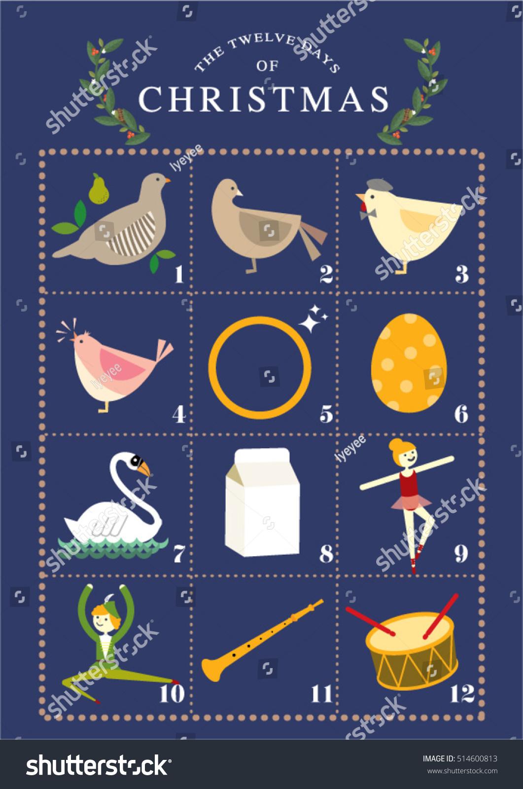 Twelve Days Christmas Template Vectorillustration Stock