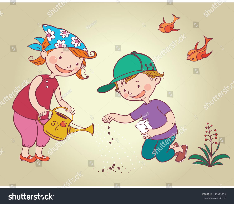 Two Little Kids Children Planting Flowers Stock Vector ... (1500 x 1309 Pixel)