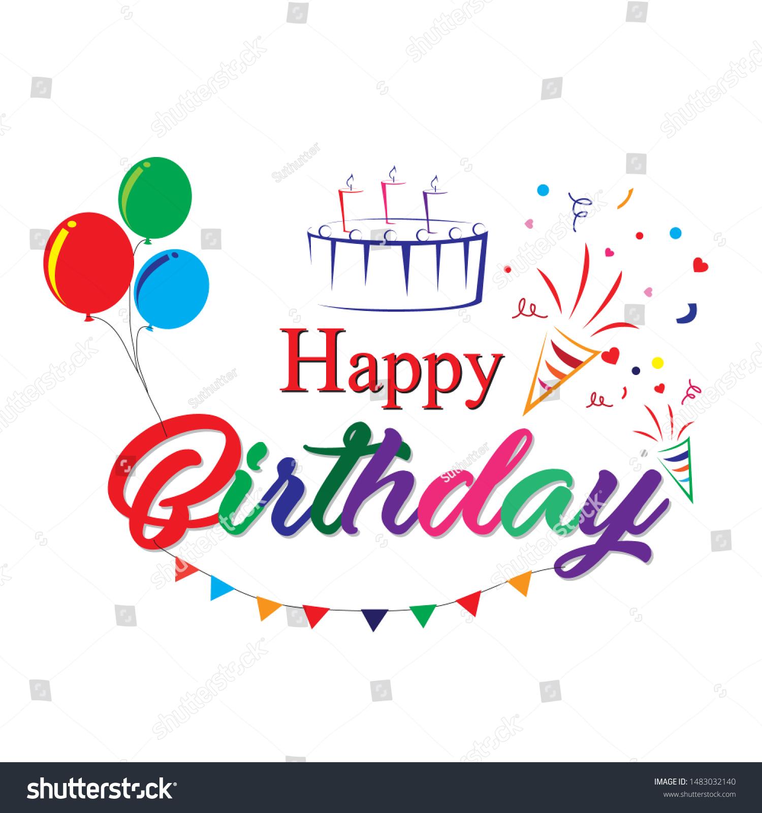 Typographic Design Happy Birthday On White Stock Vector Royalty Free 1483032140