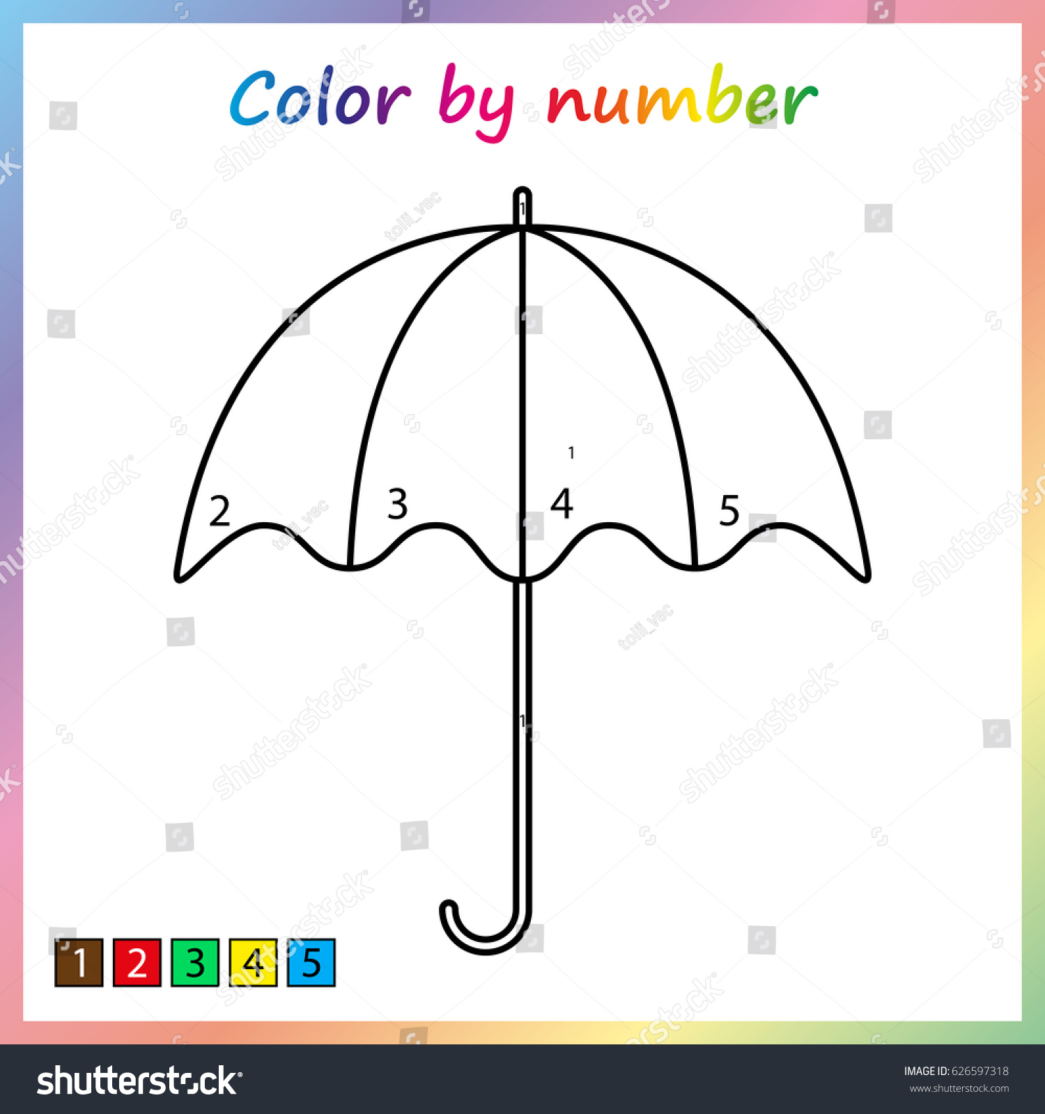 Umbrella Painting Page Color By Numbers Stock Vector