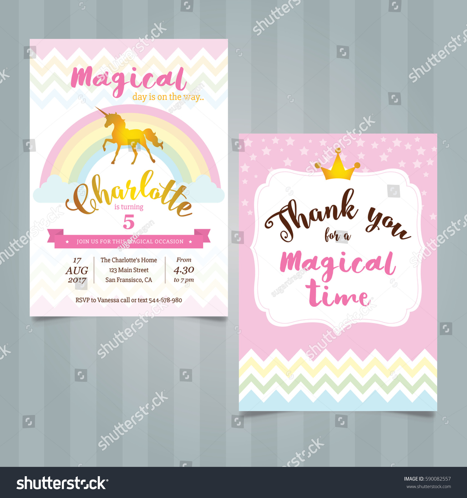 https www shutterstock com image vector unicorn birthday invitation template 590082557