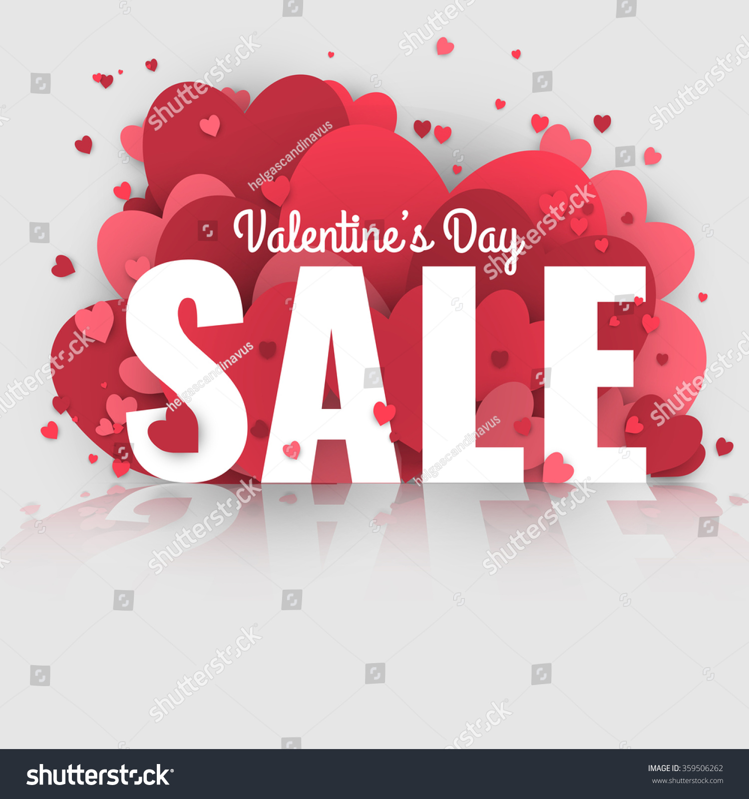 Valentines Day Sale Letters Hearts Valentine Stock Vector