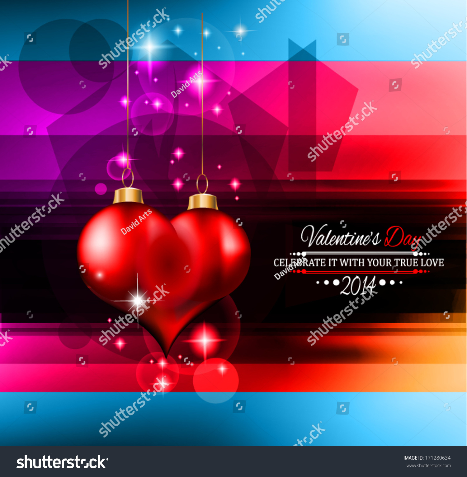 Valentines Day Template Stunning Hearts Colors Stock