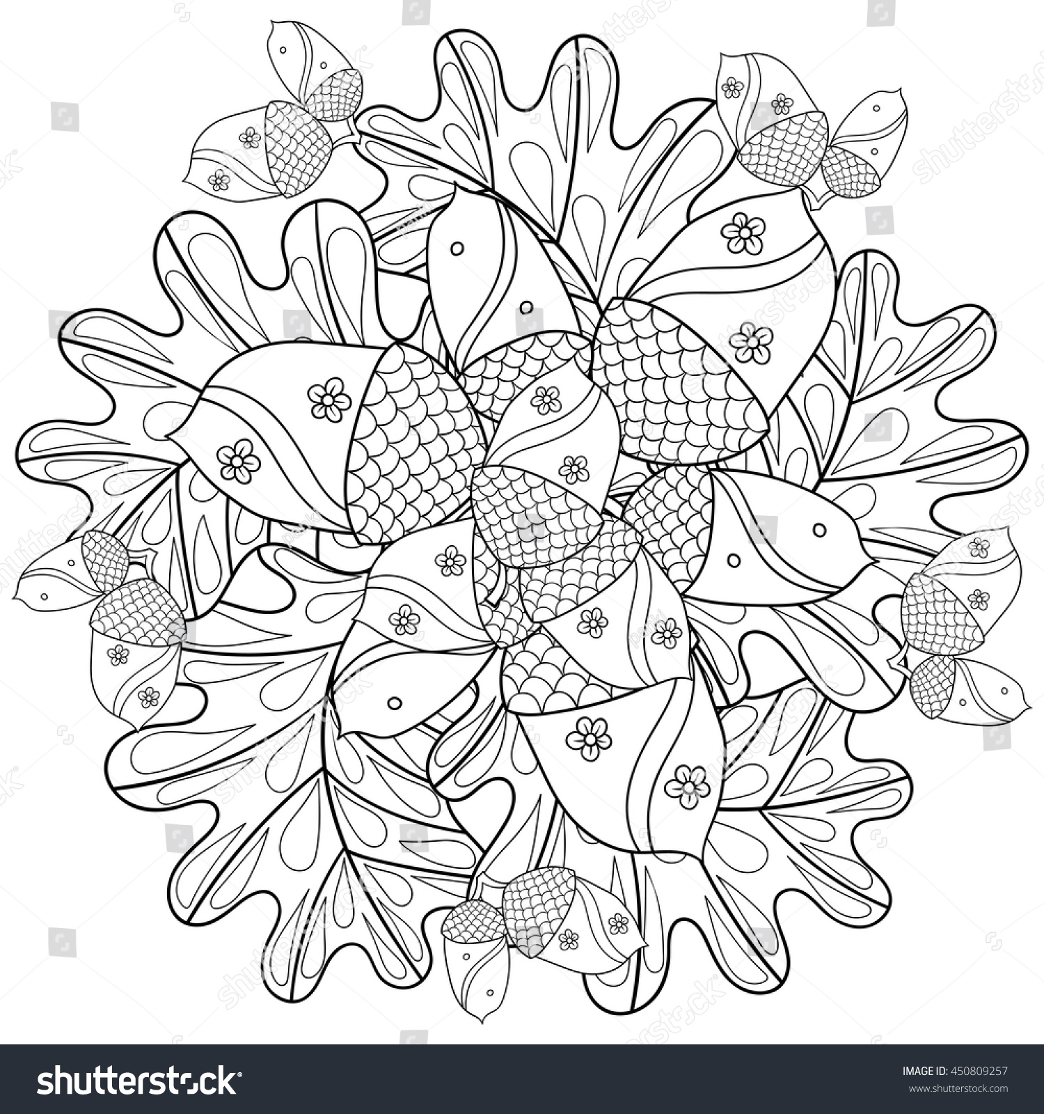 Vector Autumn Patterned Background Oak Leaves Stock Vector