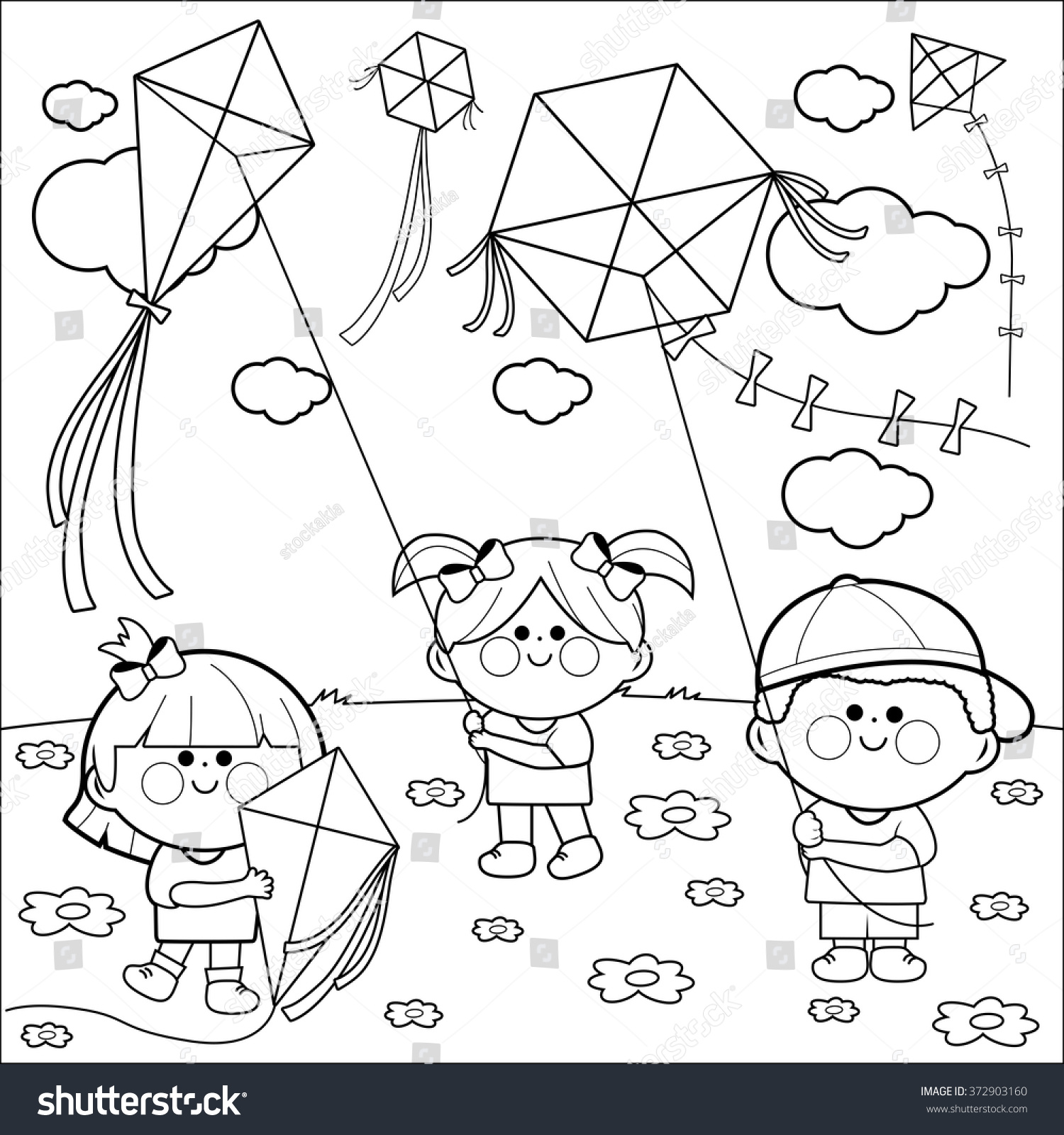 Vector Black And White Illustration Of Children Playing