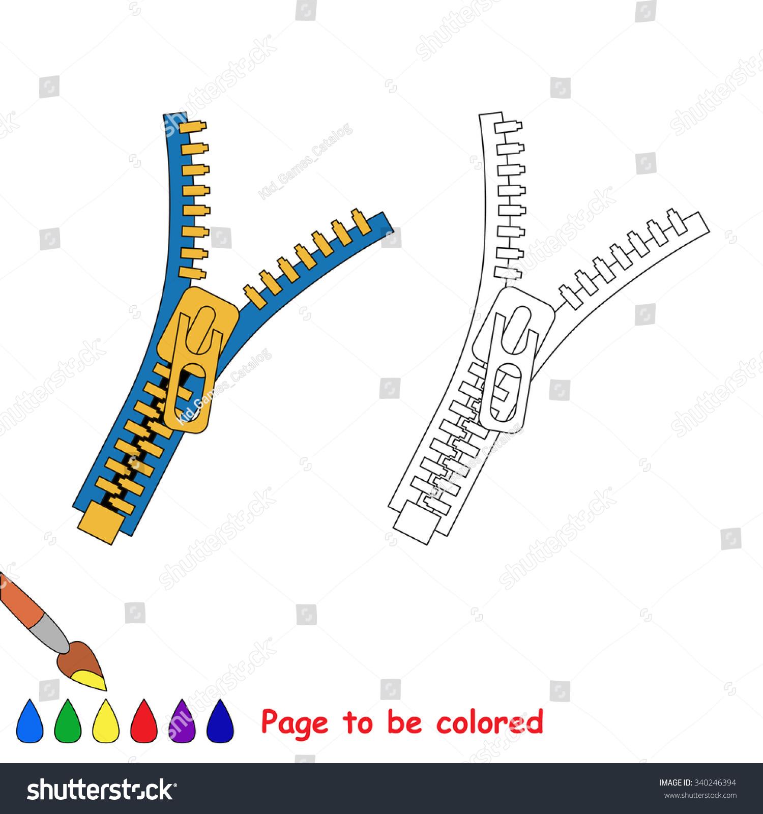 Vector Cartoon Zip Be Colored Coloring Stock Vector