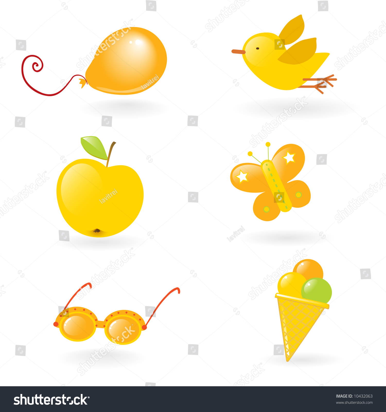 Vector Clipart Different Yellow Colored Objects Stock