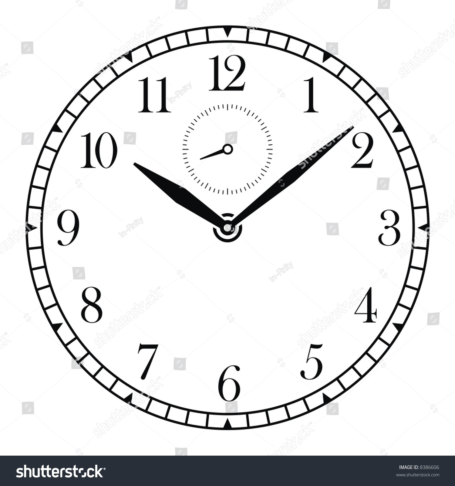 Vector Clock Face Hands Stock Vector