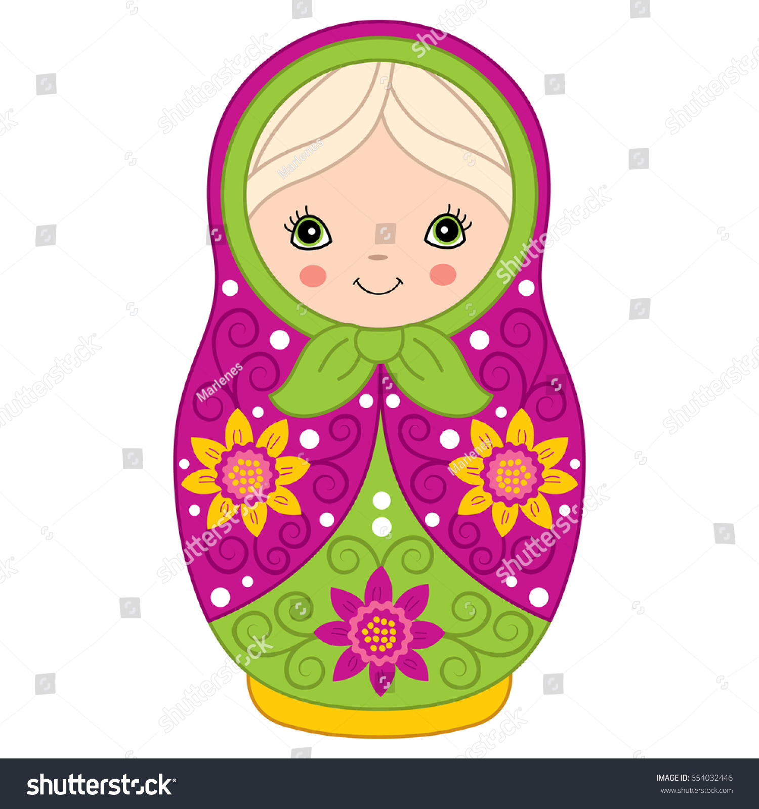 Vector Colorful Matryoshka Flowers Pattern Traditional