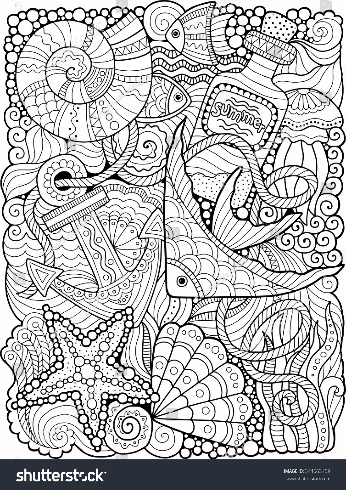 Vector Coloring Book Adult Summers Sea Stock Vector