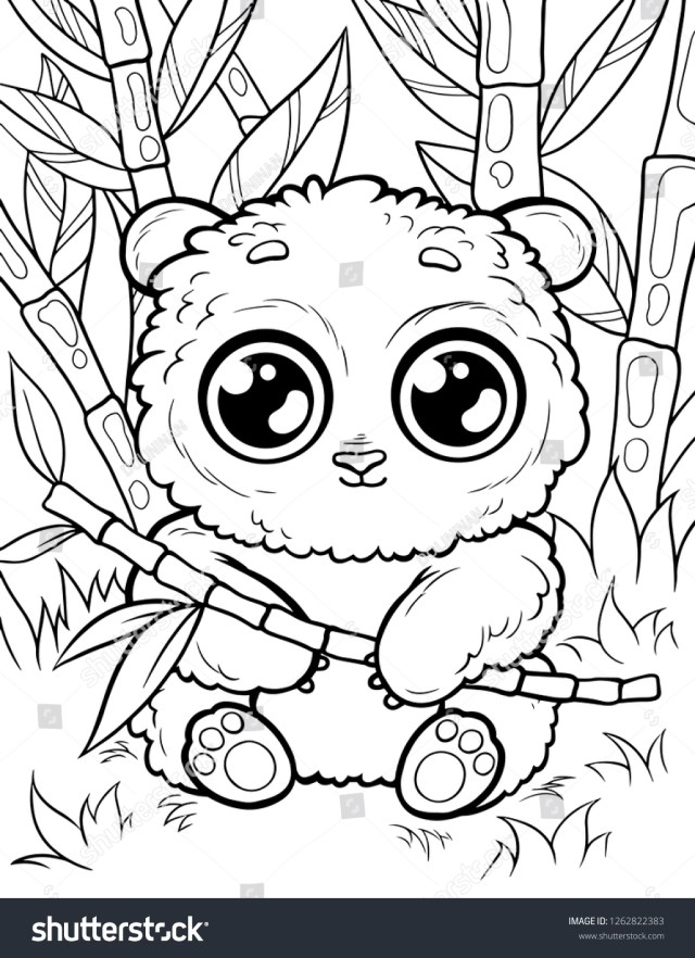Vector Coloring Page Children Cute Animals Stock Vector (Royalty