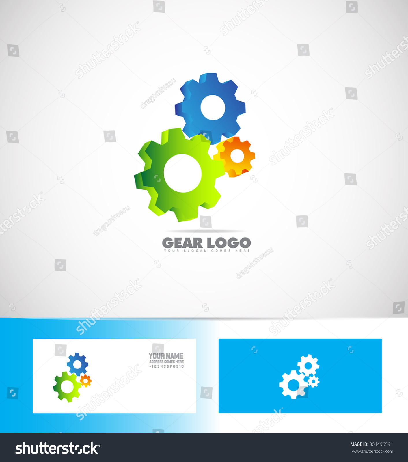 vector company logo icon element template gear machinery cog wheels 3d