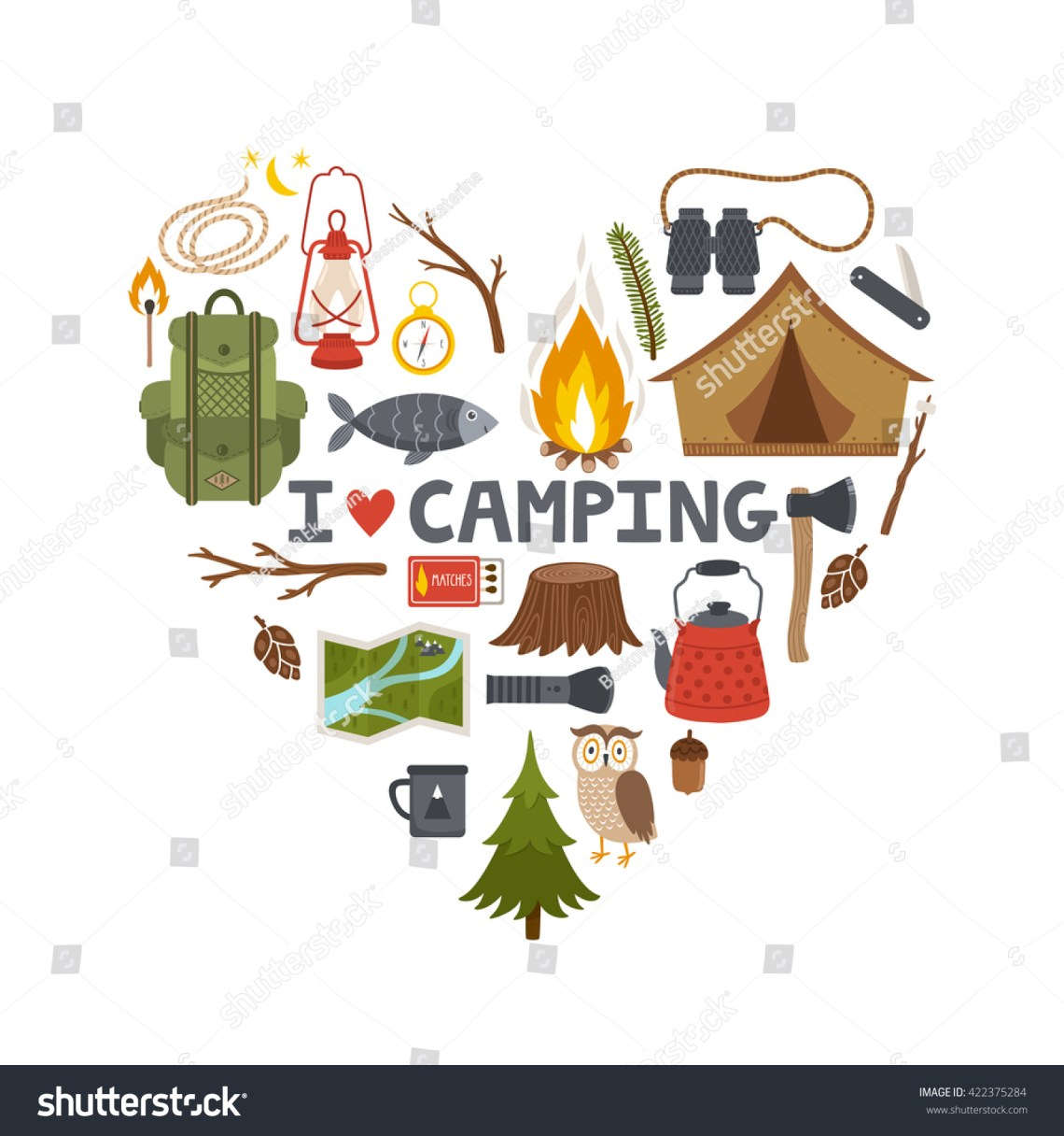 Download Vector Concept Camping Background. Heart Made From Camping ...