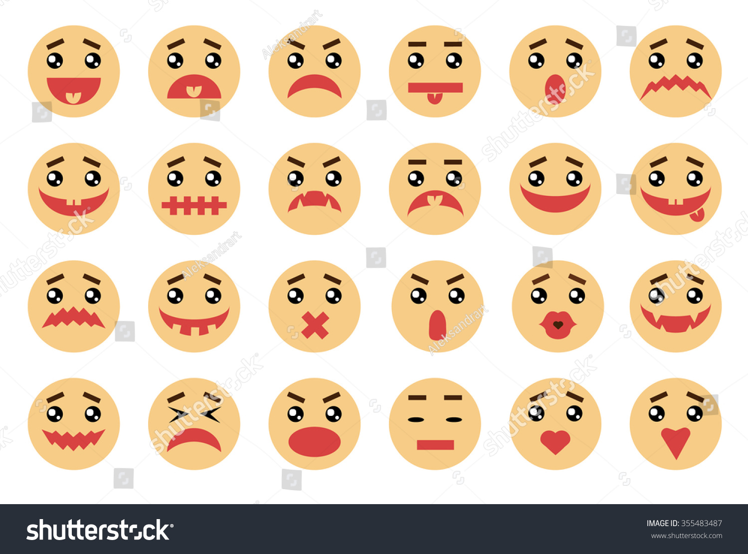 Vector Emotional Face 24 Icons Set Stock Vector