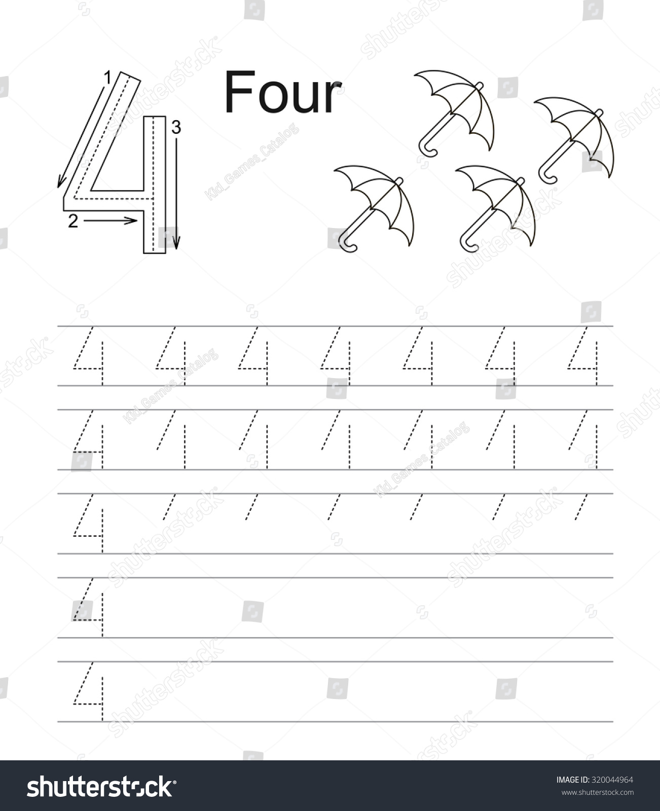 Vector Exercise Illustrated Alphabet Learn Handwriting Tracing Worksheet For Figure 4 Four