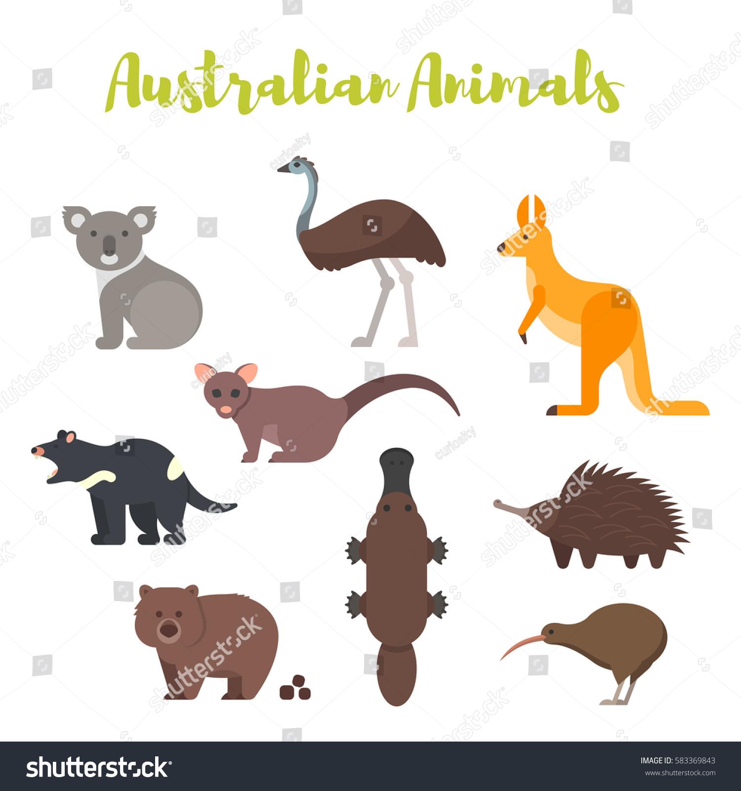 Vector Flat Style Set Australian Animals Stock Vector