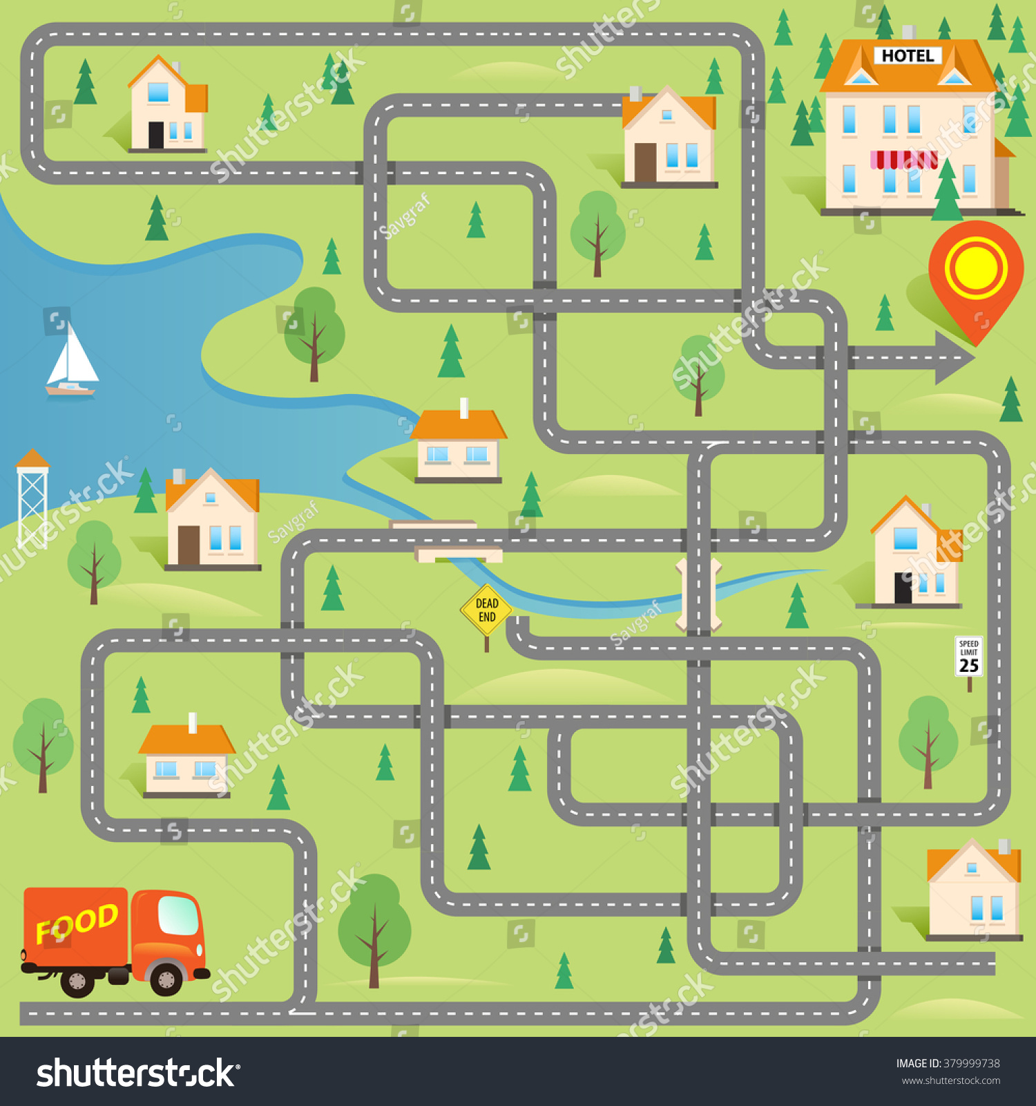 Vector Funny Maze Game Help Delivery Stock Vector