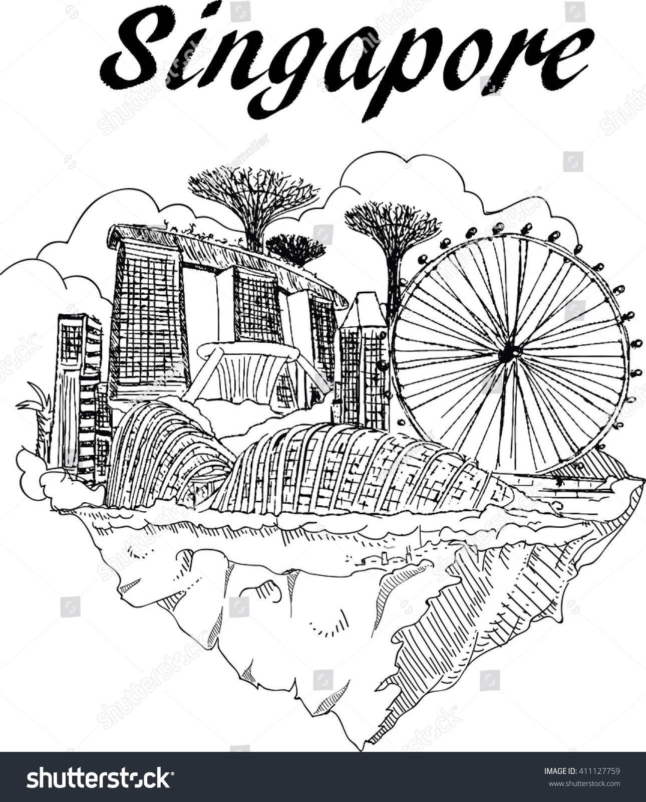 Vector Hand Drawing Singapore City Sketch Stock Vector