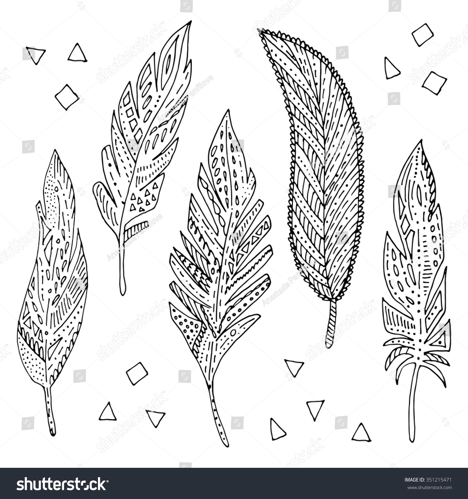 Vector Hand Drawn Feather Set Coloring Stock Vector