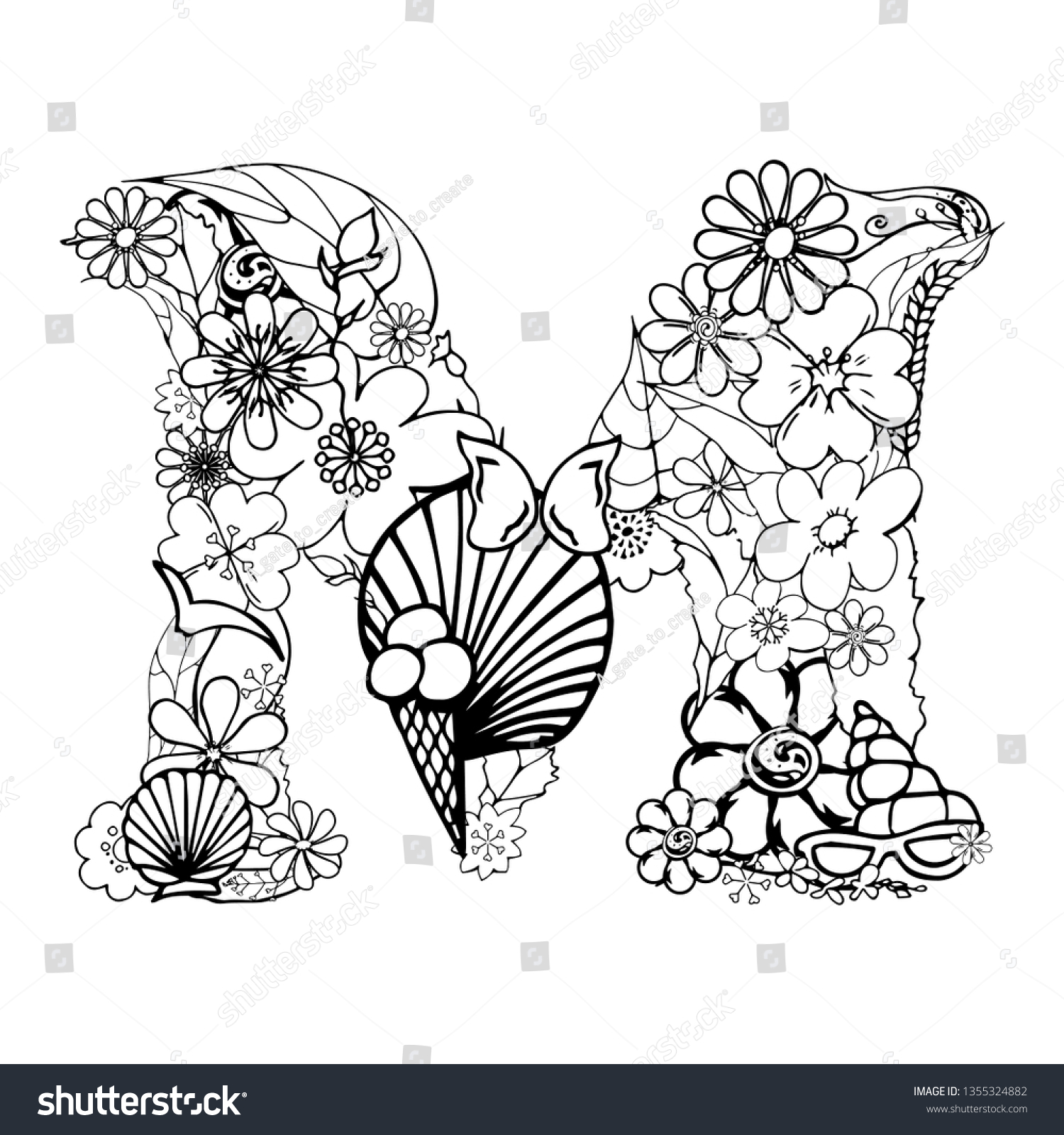 Vector Hand Drawn Floral Letter M Stock Vector Royalty Free 1355324882