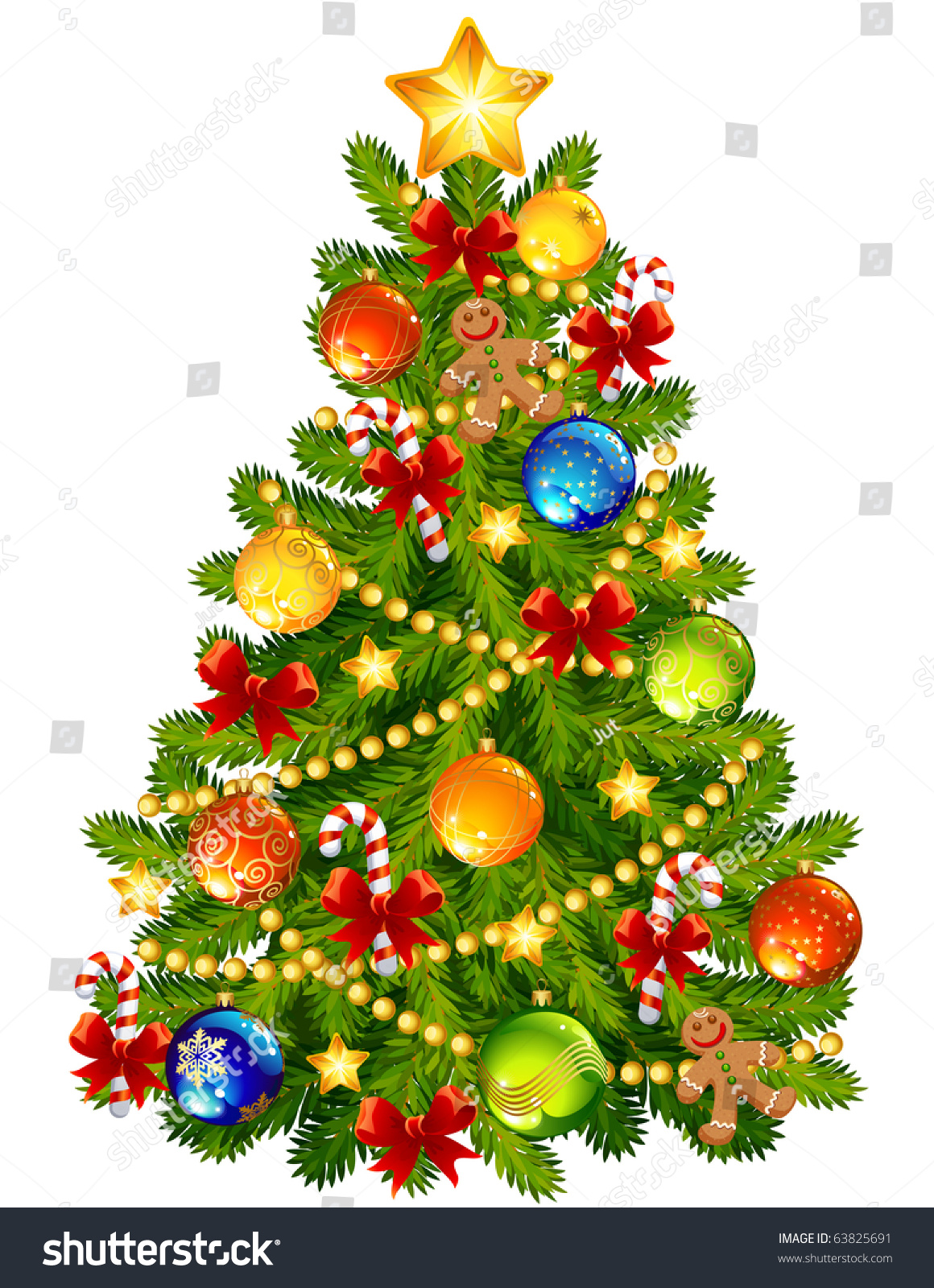 Vector Illustration Christmas Tree Stock Vector 63825691