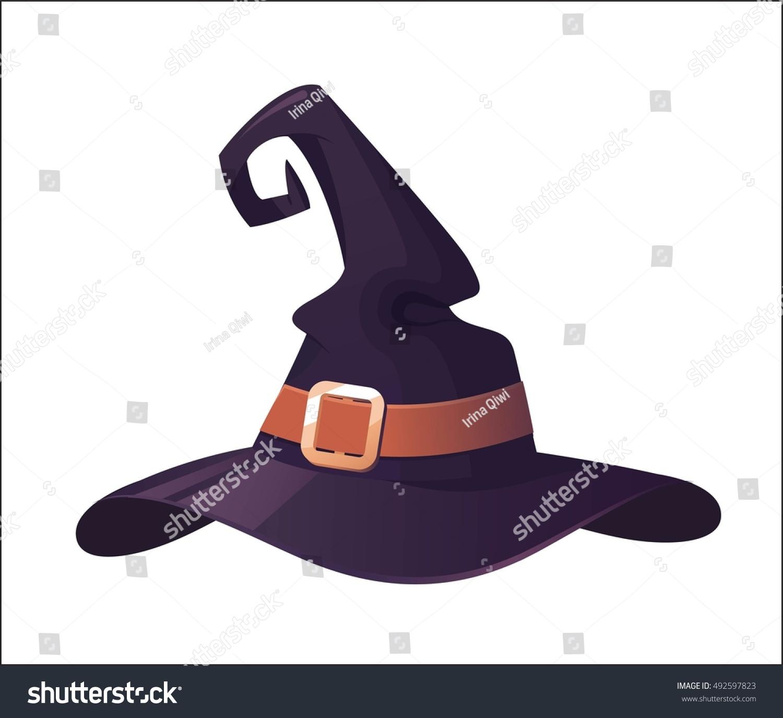 Vector Illustration Cartoon Halloween Witch Hat Stock Vector Royalty Free 492597823