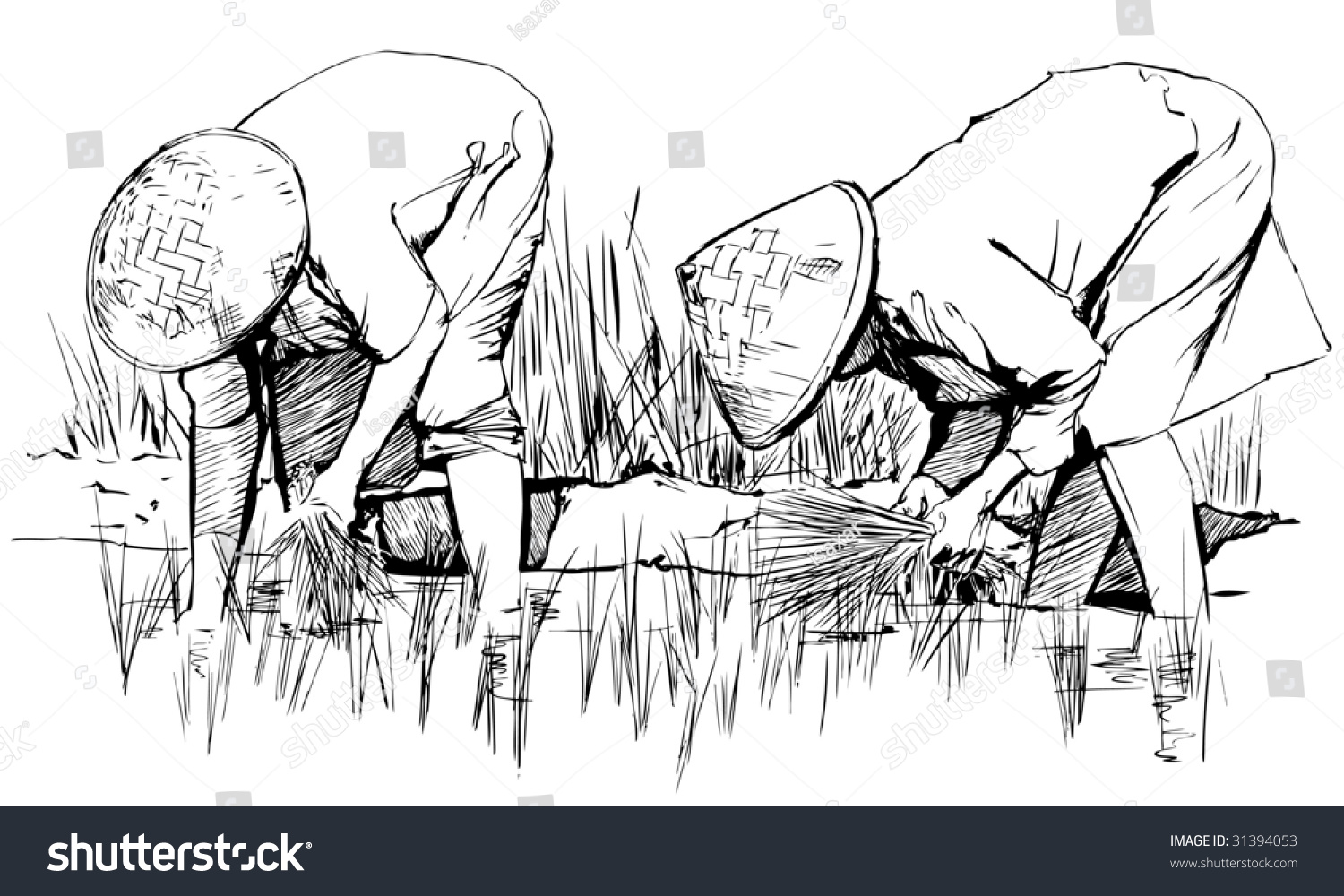 Vector Illustration Of An Hand Drawing Two Women