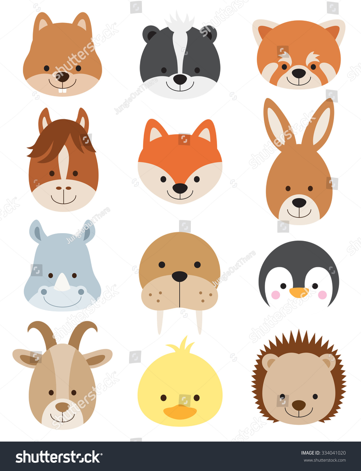 Vector Illustration Of Animal Faces Including Squirrel