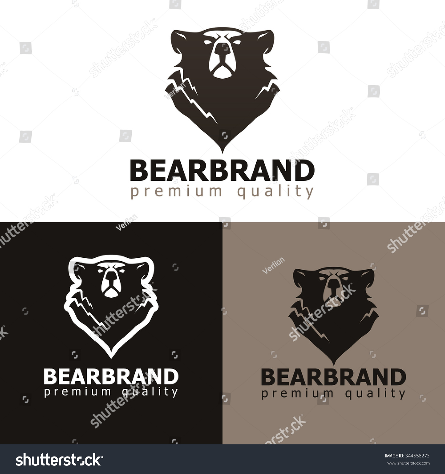 Vector Illustration Bear Grizzly Bear Silhouette Stock Vector