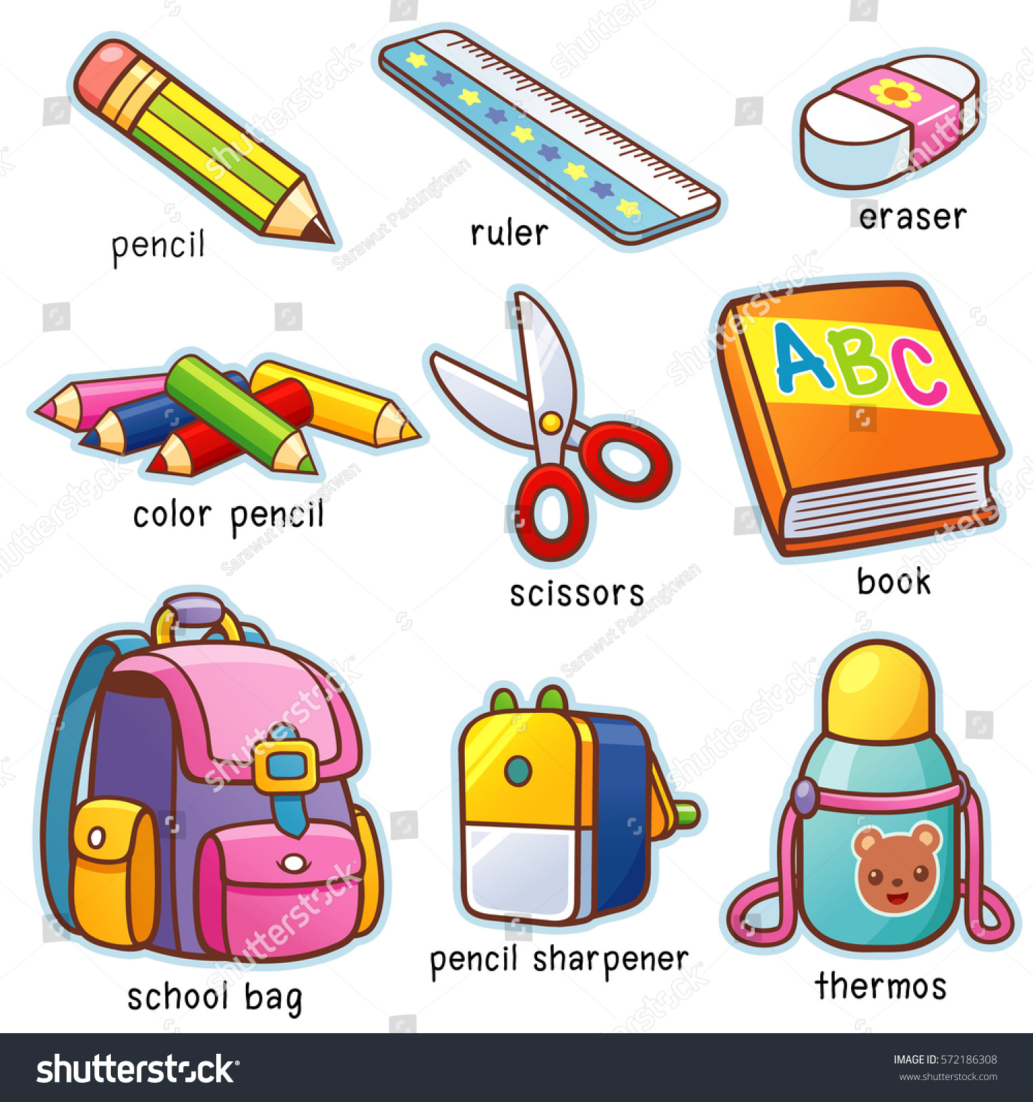 Vector Illustration Cartoon Back School Vocabulary Stock