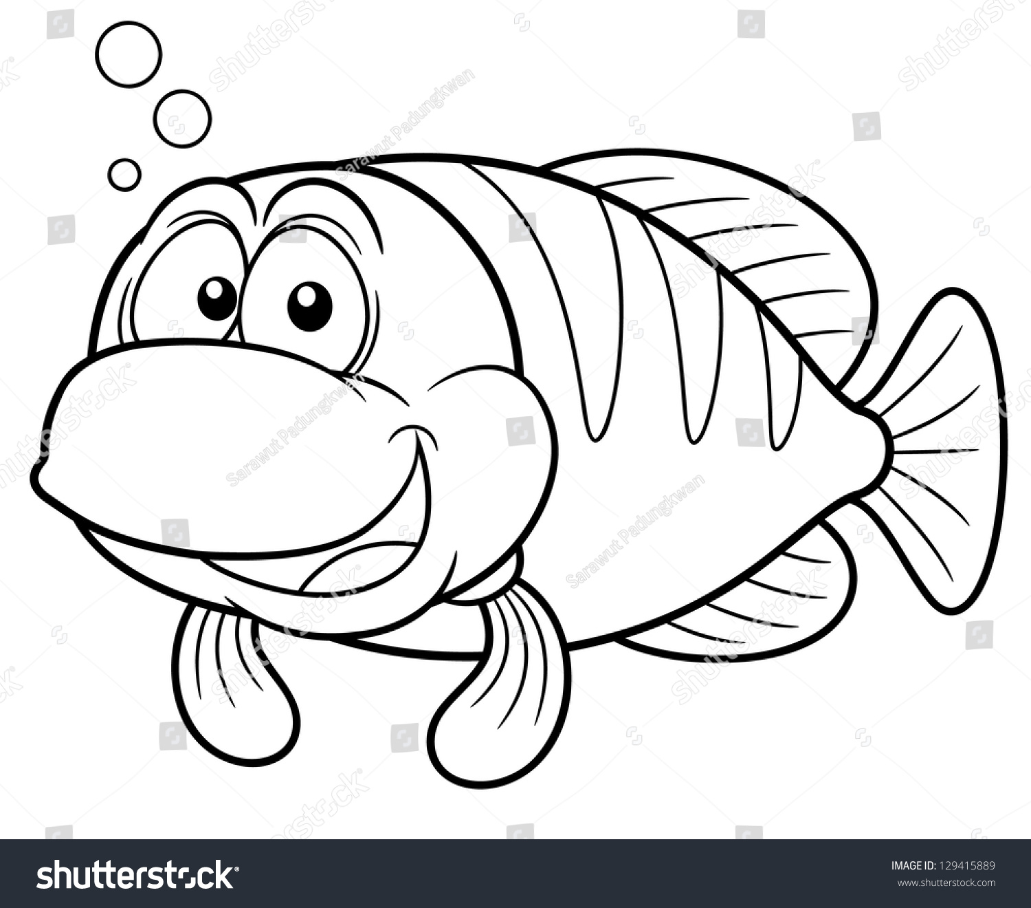 Vector Illustration Cartoon Fish Coloring Book Stock
