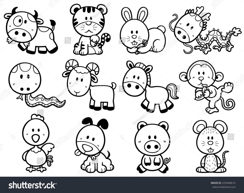 Vector Illustration Chinese Zodiac Animal Cartoon Stock Vector